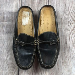 Women's Black Leather Cole Haan Slip-On Mules